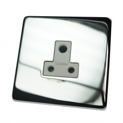 Eurolite Concealed Fix Flat Plate Polished Chrome 1 Gang 5amp Unswitched Socket with White Insert