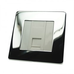 Eurolite Concealed Fix Flat Plate Polished Chrome 1 Gang Data Socket with White Insert