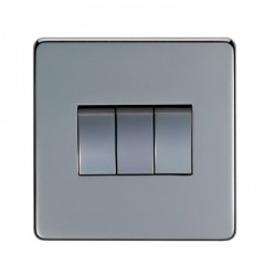 Eurolite Concealed Fix Flat Plate Black Nickel 3 Gang 10amp 2way Switch with Matching Insert