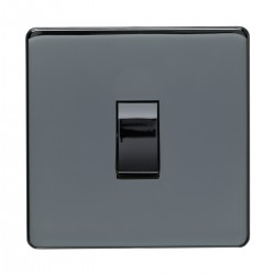 Eurolite Concealed Fix Flat Plate Black Nickel 1 Gang 20amp DP Switch with Matching Insert