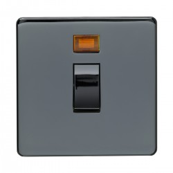 Eurolite Concealed Fix Flat Plate Black Nickel 1 Gang 20amp DP Switch and Neon with Matching Insert