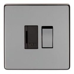 Eurolite Concealed Fix Flat Plate Black Nickel 13amp Switched Fuse Spur with Matching Rocker and Black Insert