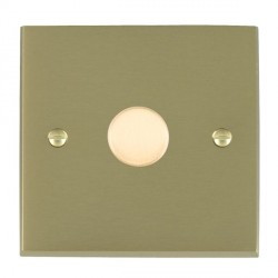 Hamilton Cheriton Victorian Satin Brass Push On/Off Dimmer 1 Gang 2 way 400W with Satin Brass Insert