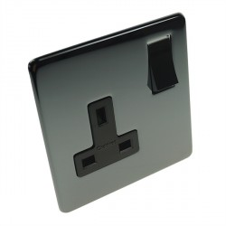 Eurolite Concealed Fix Flat Plate Black Nickel 1 Gang 13amp DP Switched Socket with Matching Rocker and Black Insert