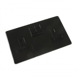 Eurolite Concealed Fix Flat Plate Black Nickel 2 Gang 13amp DP Switched Socket with Matching Rocker and Black Insert