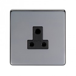 Eurolite Concealed Fix Flat Plate Black Nickel 1 Gang 5amp Unswitched Socket with Black Insert