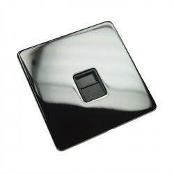 Eurolite Concealed Fix Flat Plate Black Nickel 1 Gang Telephone Slave with Black Insert
