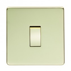 Eurolite Concealed Fix Flat Plate Polished Brass 1 Gang 10amp 2way Switch with Matching Insert
