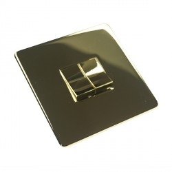 Eurolite Concealed Fix Flat Plate Polished Brass 2 Gang 10amp 2way Switch with Matching Insert