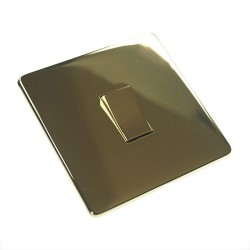 Eurolite Concealed Fix Flat Plate Polished Brass 1 Gang 20amp DP Switch with Matching Insert