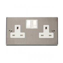 Click Deco Victorian Stainless Steel Double 13A Socket with White Inserts
