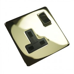 Eurolite Concealed Fix Flat Plate Polished Brass 1 Gang 13amp DP Switched Socket with Matching Rocker and Black Insert