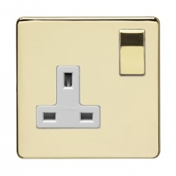 Eurolite Concealed Fix Flat Plate Polished Brass 1 Gang 13amp DP Switched Socket with Matching Rocker and White Insert