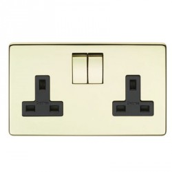 Eurolite Concealed Fix Flat Plate Polished Brass 2 Gang 13amp DP Switched Socket with Matching Rocker and Black Insert