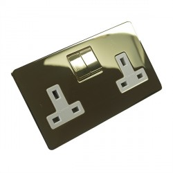 Eurolite Concealed Fix Flat Plate Polished Brass 2 Gang 13amp DP Switched Socket with Matching Rocker and White Insert