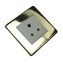 Eurolite Concealed Fix Flat Plate Polished Brass 1 Gang 5amp Unswitched Socket with White Insert