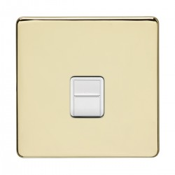 Eurolite Concealed Fix Flat Plate Polished Brass 1 Gang Telephone Slave with White Insert