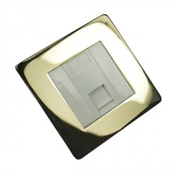 Eurolite Concealed Fix Flat Plate Polished Brass 1 Gang Data Socket with White Insert