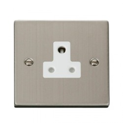 Click Deco Victorian Stainless Steel Single 5A Round Pin Socket