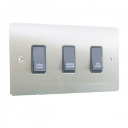 Eurolite Enhance Flat Plate Satin Stainless 3 Gang 20A DP Engraved Appliance Switch with Black Insert