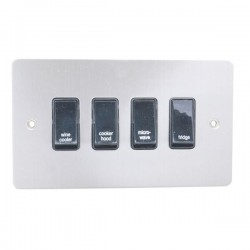 Eurolite Enhance Flat Plate Satin Stainless 4 Gang 20A DP Engraved Appliance Switch with Black Insert