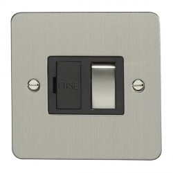 Eurolite Enhance Flat Plate Satin Stainless 13A Switched Fuse Spur with Matching Rocker and Black Insert