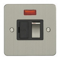Eurolite Enhance Flat Plate Satin Stainless 13A Switched Fuse Spur and Neon with Matching Rocker and Black Insert