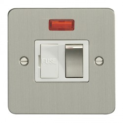 Eurolite Enhance Flat Plate Satin Stainless 13A Switched Fuse Spur and Neon with Matching Rocker and White Insert