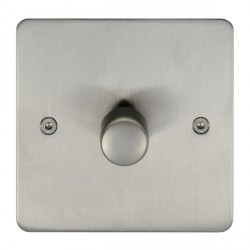 Eurolite Enhance Flat Plate Satin Stainless 1 Gang 250W LED Dimmer Switch with Matching Knob
