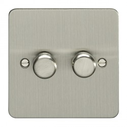 Eurolite Enhance Flat Plate Satin Stainless 2 Gang 400W Dimmer Switch with Matching Knob