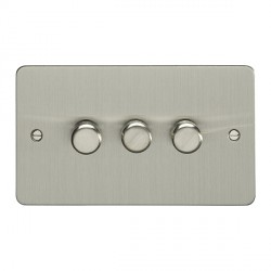 Eurolite Enhance Flat Plate Satin Stainless 3 Gang 250W LED Dimmer Switch with Matching Knob