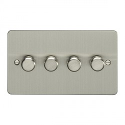 Eurolite Enhance Flat Plate Satin Stainless 4 Gang 250W LED Dimmer Switch with Matching Knob