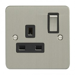 Eurolite Enhance Flat Plate Satin Stainless 1 Gang 13A DP Switched Socket with Matching Rocker and Black Insert