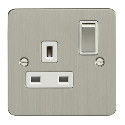 Eurolite Enhance Flat Plate Satin Stainless 1 Gang 13A DP Switched Socket with Matching Rocker and White Insert