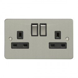Eurolite Flat Plate Satin Stainless 2 Gang 13amp DP Switched Socket with Matching Rocker and Black Insert
