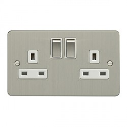 Eurolite Enhance Flat Plate Satin Stainless 2 Gang 13A DP Switched Socket with Matching Rocker and White Insert
