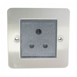 Eurolite Enhance Flat Plate Satin Stainless 1 Gang 5A Unswitched Socket with Black Insert