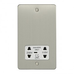 Eurolite Enhance Flat Plate Satin Stainless 2 Gang Dual Voltage Shaver Socket with White Insert