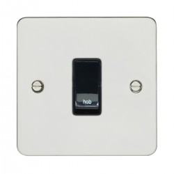 Eurolite Enhance Flat Plate Polished Stainless 1 Gang 20A DP Engraved Appliance Switch with Black Insert