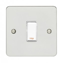 Eurolite Enhance Flat Plate Polished Stainless 1 Gang 20A DP Engraved Appliance Switch with White Insert