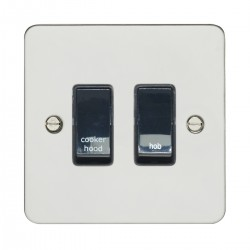Eurolite Enhance Flat Plate Polished Stainless 2 Gang 20A DP Engraved Appliance Switch with Black Insert