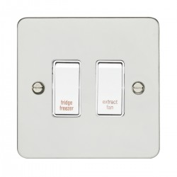 Eurolite Enhance Flat Plate Polished Stainless 2 Gang 20A DP Engraved Appliance Switch with White Insert