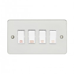 Eurolite Enhance Flat Plate Polished Stainless 4 Gang 20A DP Engraved Appliance Switch with White Insert