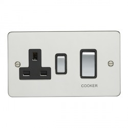 Eurolite Flat Plate Polished Stainless 2 Gang 45amp DP Switch and Socket with Matching Rocker and Black Insert