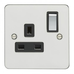 Eurolite Flat Plate Polished Stainless 1 Gang 13amp DP Switched Socket with Matching Rocker and Black Insert