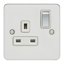 Eurolite Enhance Flat Plate Polished Stainless 1 Gang 13A DP Switched Socket with Matching Rocker and Whi...