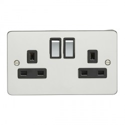 Eurolite Enhance Flat Plate Polished Stainless 2 Gang 13A DP Switched Socket with Matching Rocker and Black Insert