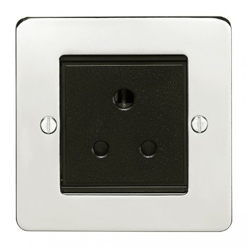 Eurolite Enhance Flat Plate Polished Stainless 1 Gang 5A Unswitched Socket with Black Insert