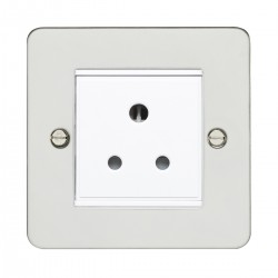 Eurolite Enhance Flat Plate Polished Stainless 1 Gang 5A Unswitched Socket with White Insert