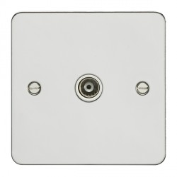 Eurolite Enhance Flat Plate Polished Stainless 1 Gang TV Outlet with White Insert